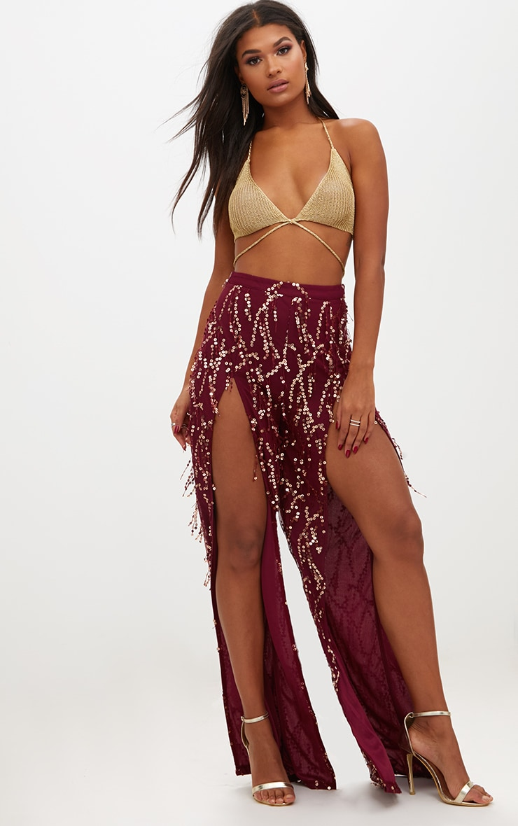 Burgundy Sequin Tassel Front Split Trousers 1