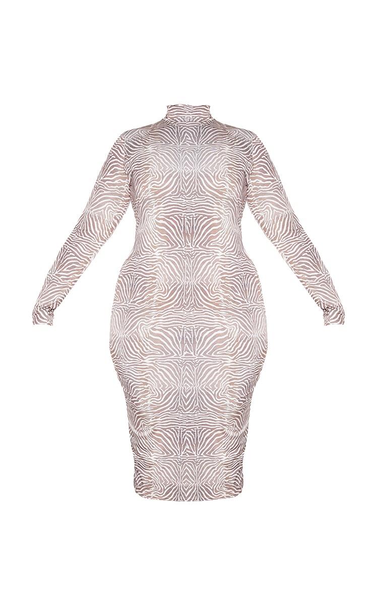 PLT Plus - Robe mi-longue marron imprimé animal à anneau et manches longues 5