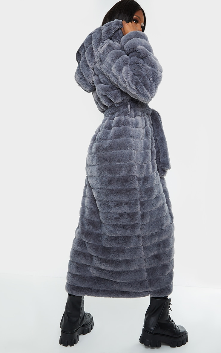 Tall Grey Maxi Bubble Faux Fur Coat 2