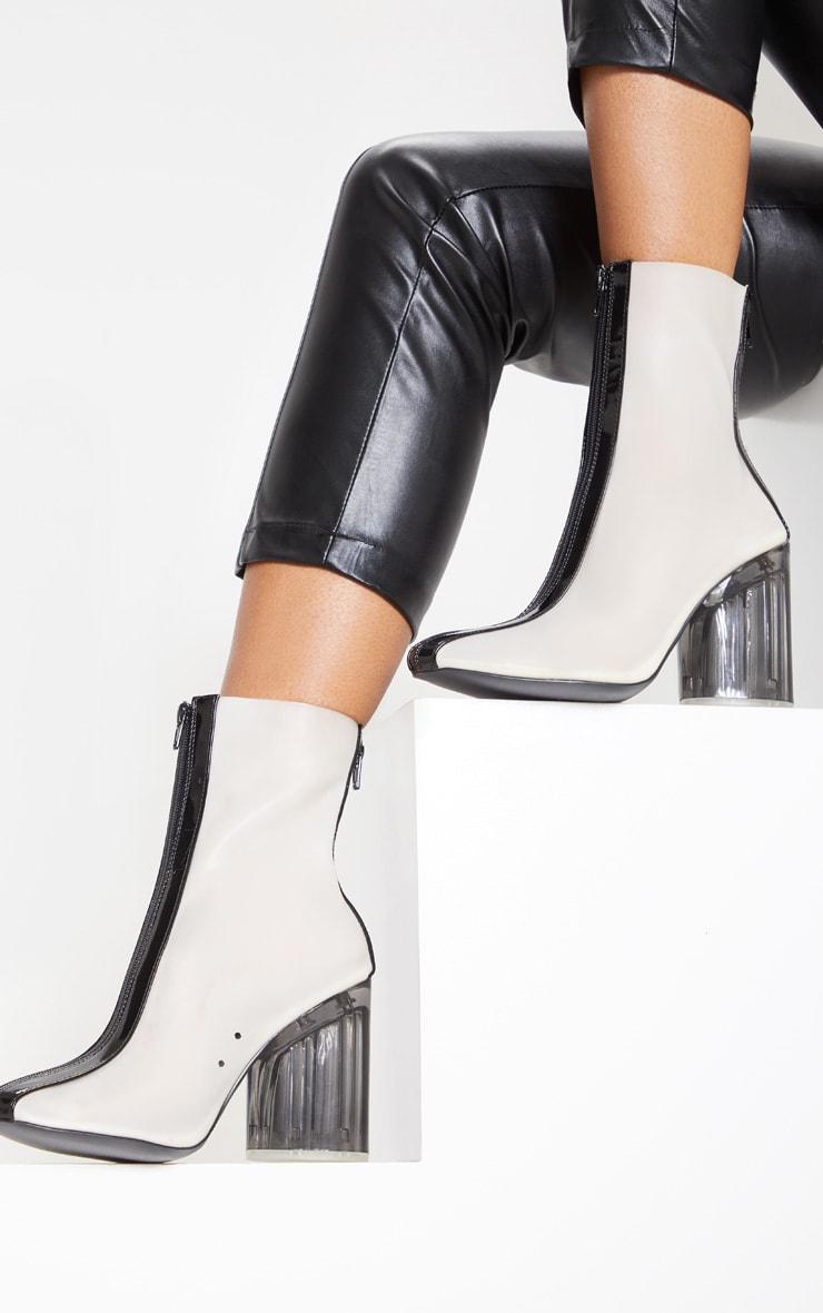 Black Zip Front Clear Heel Ankle Boot 2