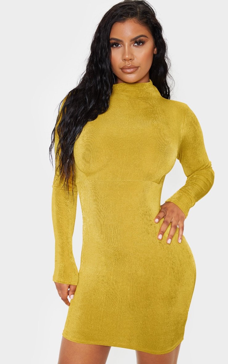 Chartreuse Textured Slinky Long Sleeve High Neck Ruched Back Bodycon Dress 2