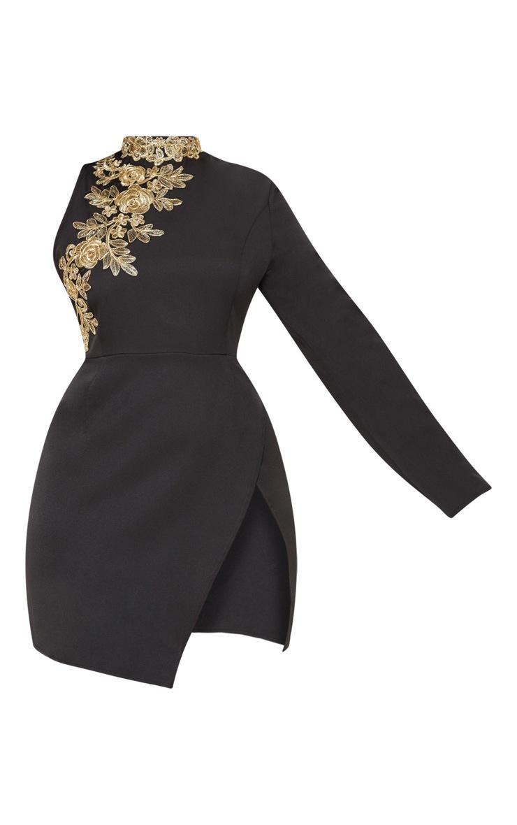 Black Asymmetric Sleeve Embroidered Bodycon Dress 4