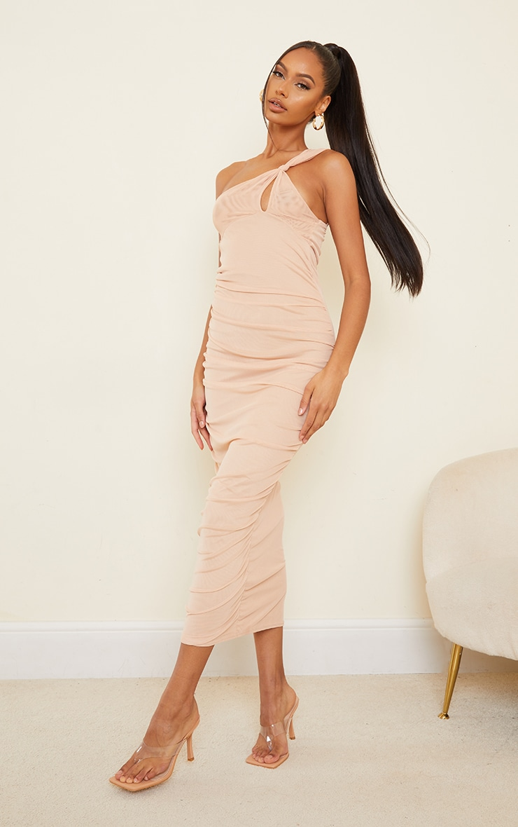 Stone Mesh One Shoulder Knot Detail Ruched Midaxi Dress 1