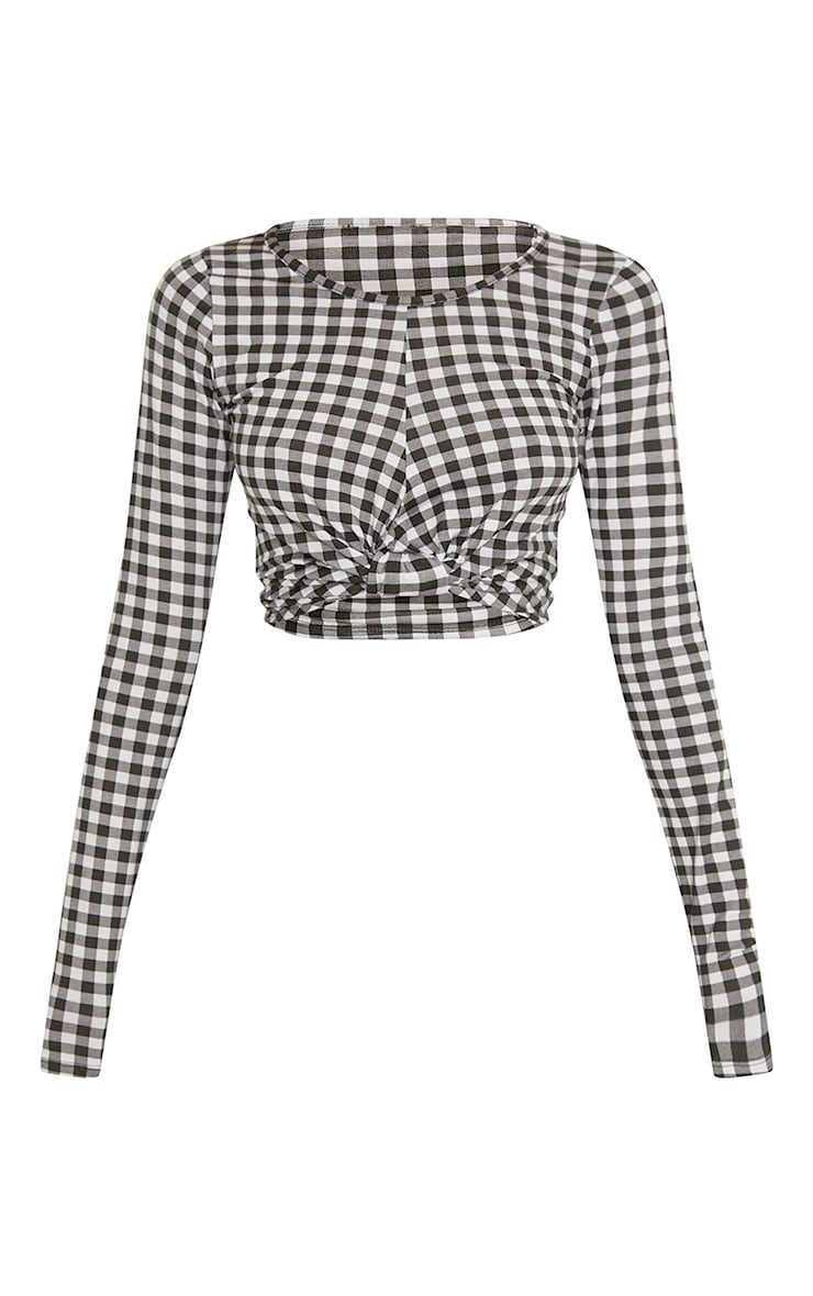 Peggie Black Gingham Knot Front Longsleeve Crop Top  3