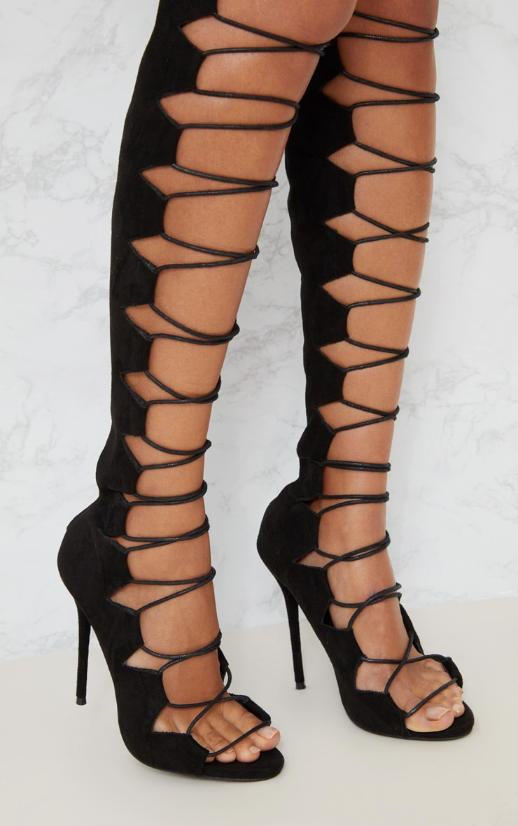 Black Lace Up Stiletto Thigh High Boots 5