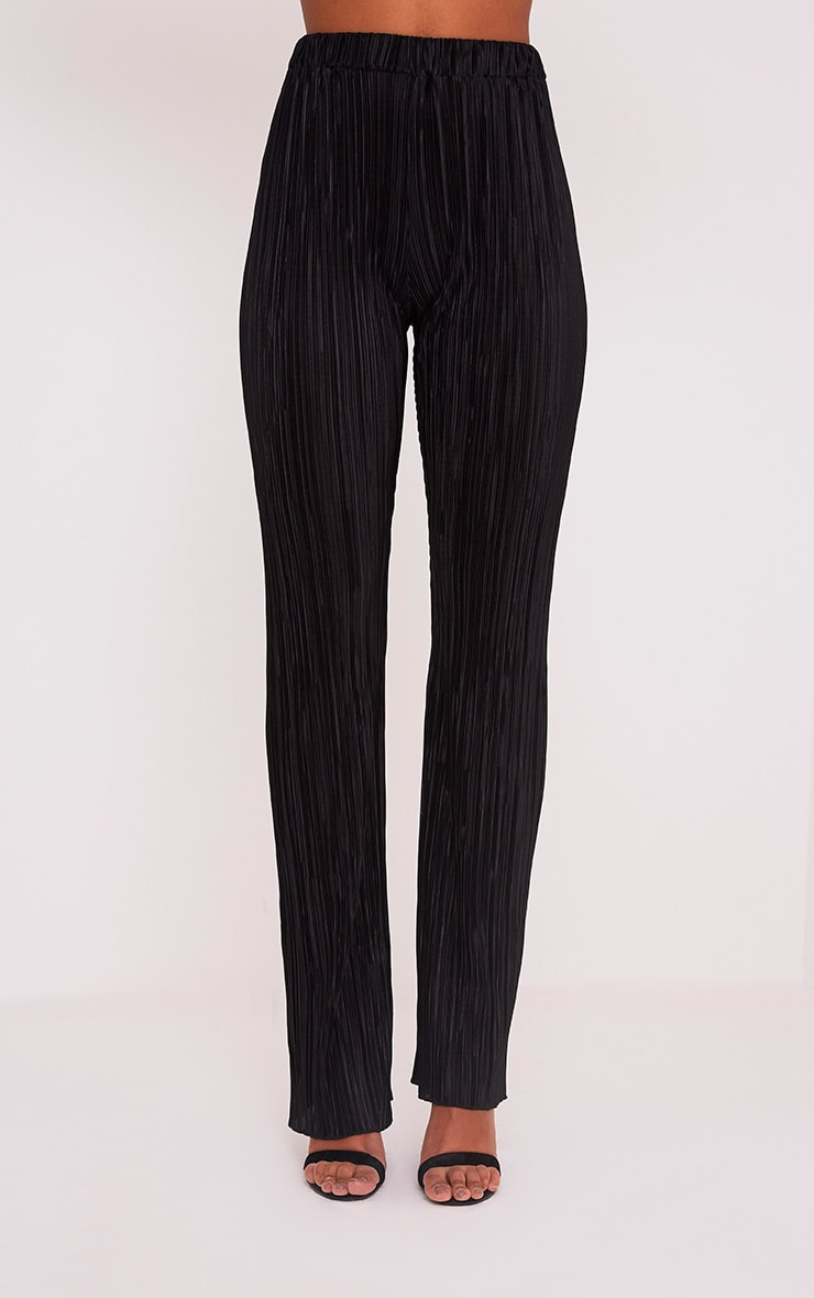 Follie pantalon taille haute plissé noir  5