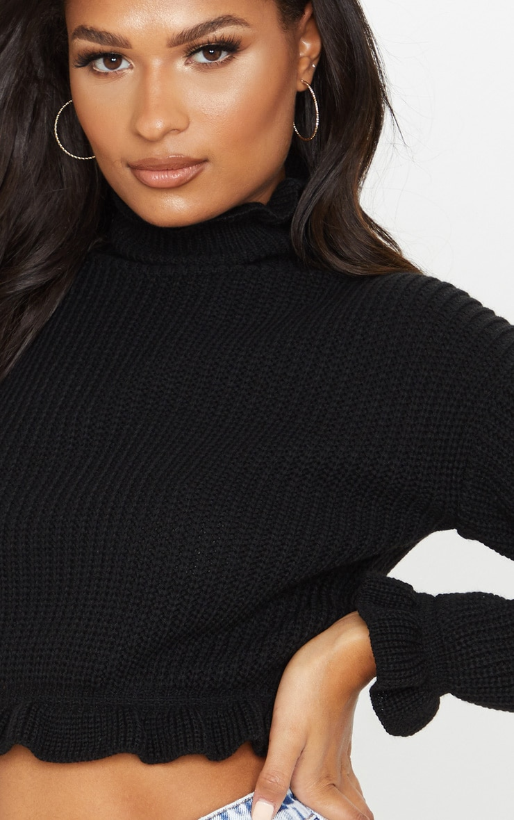 Black Knit High Neck Ruffle Trim Crop Jumper 5