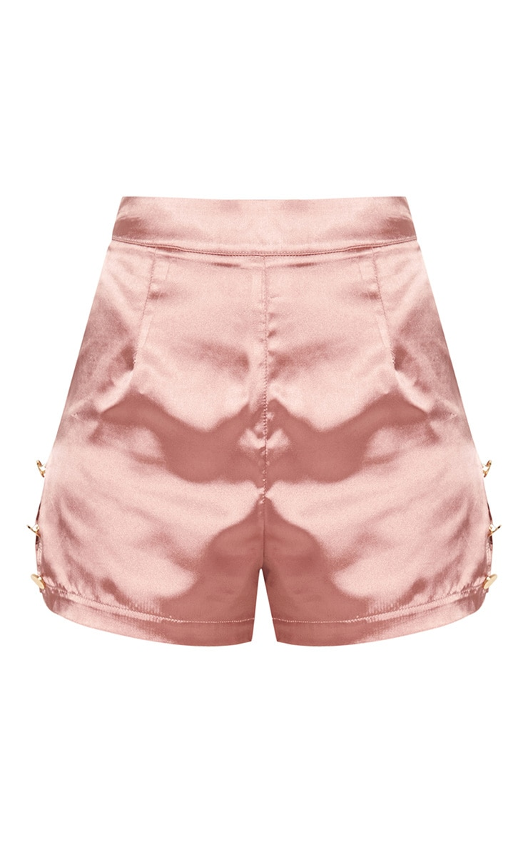 Blush Satin Military Button Detail Shorts 2