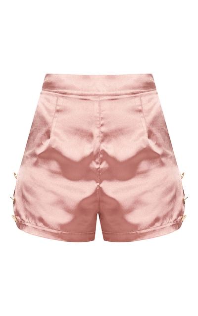 Blush Satin Military Button Detail Shorts