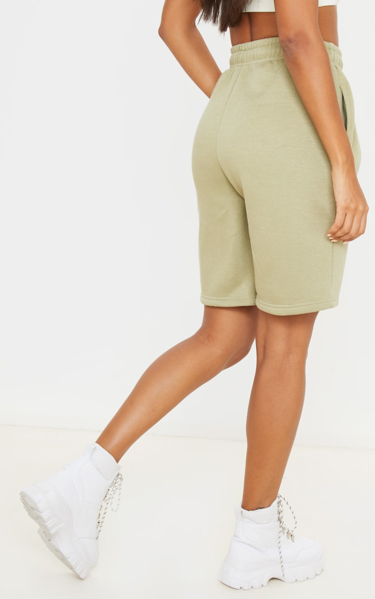 Sage Khaki Drawstring Sweat Longline Shorts 4