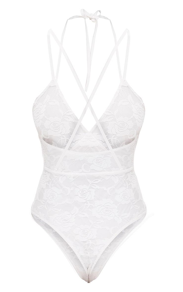 White Lace Double Strap Thong Bodysuit 4