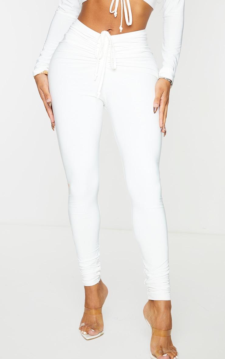 Shape White Slinky Ruched Front Leggings 2