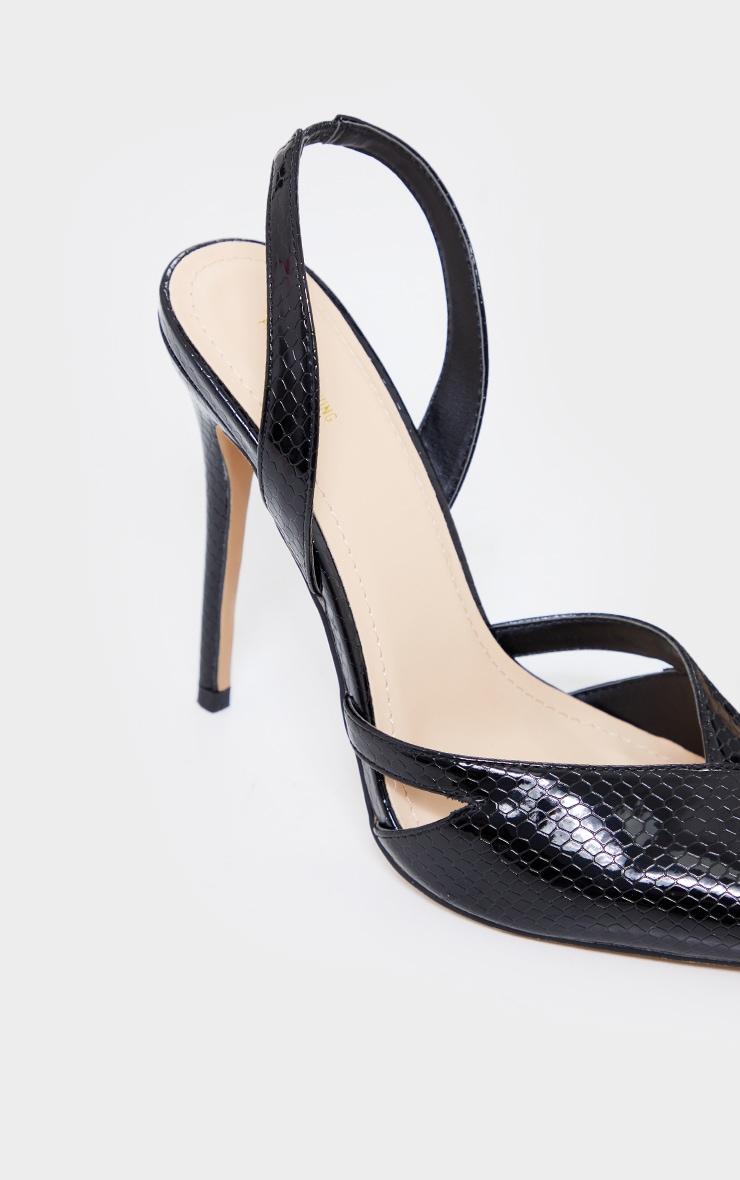 Black Snake PU Sling Back Cut Out High Heel Court Shoes 4