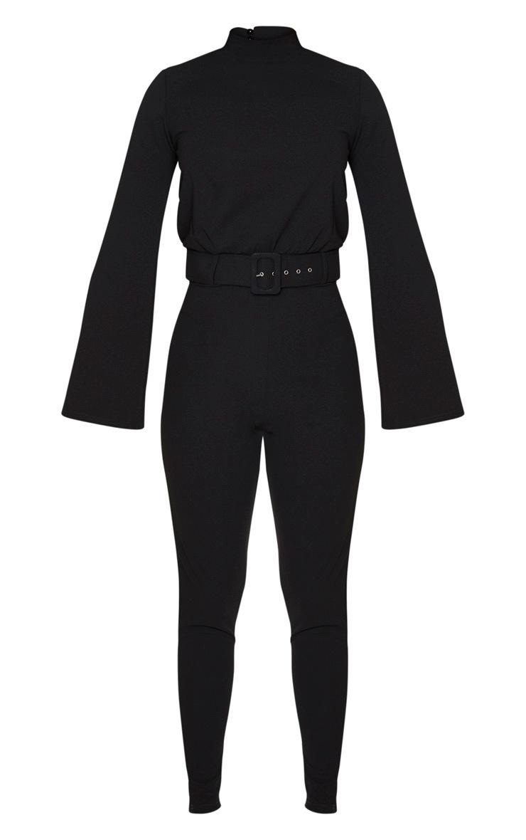 Black Belt Detail High Neck Long Sleeve Jumpsuit 3