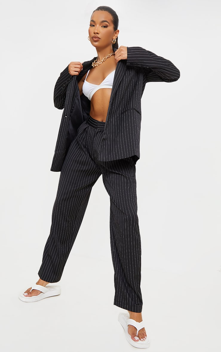 Black Pinstripe Woven High Waisted Trousers 1