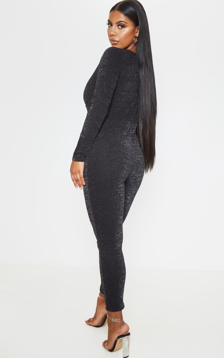 Black Glitter Plunge Long Sleeve Jumpsuit 2