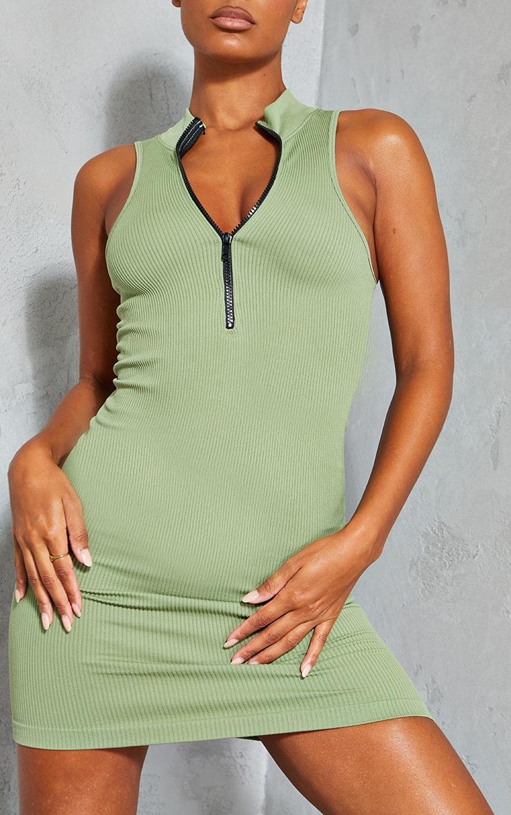 Khaki Structured Contour Racer Zip High Neck Bodycon Dress 4