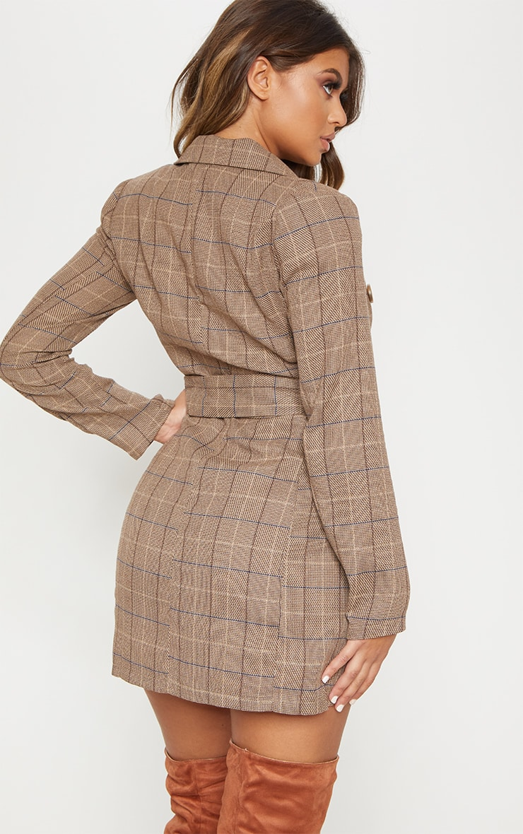 Brown Check Belted Blazer Dress 2