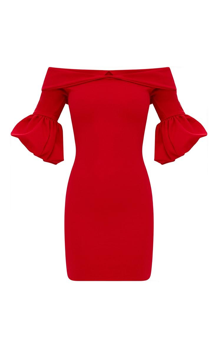Red Puff Detail Bardot Bodycon Dress 3