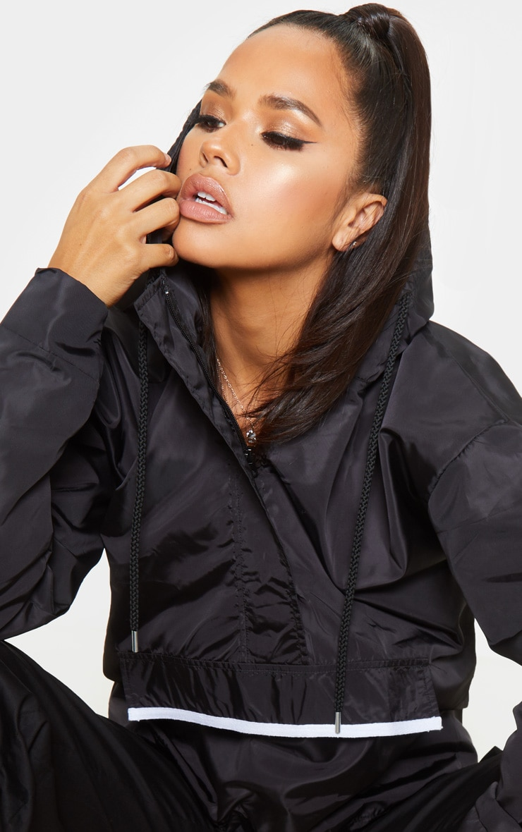Black Shell Zip Up Hooded Windbreaker 5