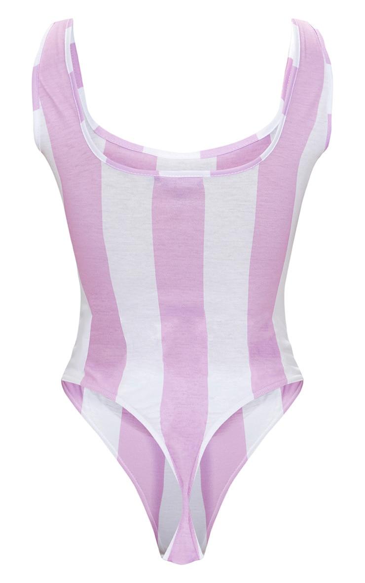PRETTYLITTLETHING White Multi Striped Thong Bodysuit  4