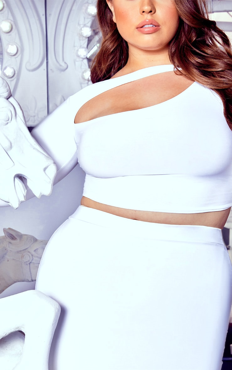 Plus White Cut Out Crop Top 5