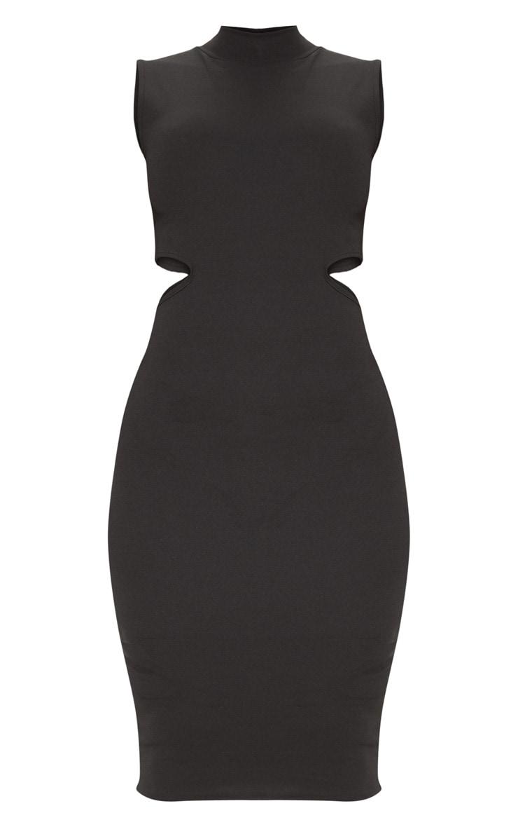 Black High Neck Waist Cut Out Sleeveless Midi Dress 3