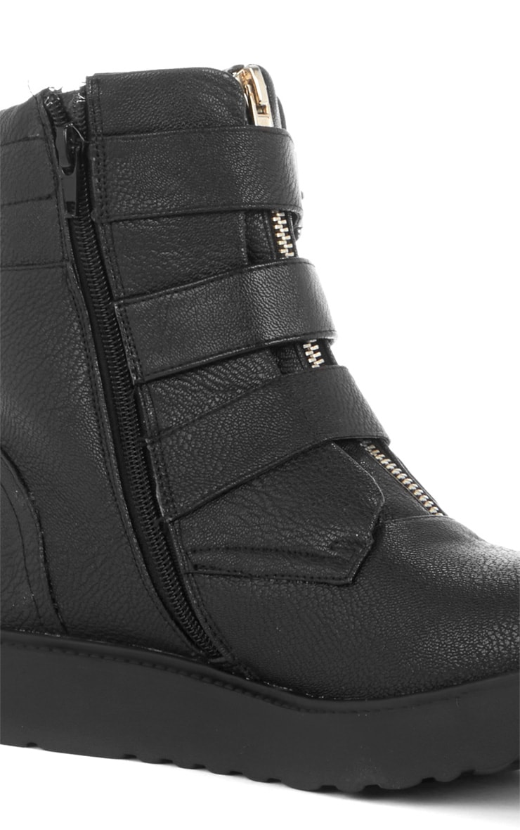Honor Three Buckle Zip Detail Biker Boot  2