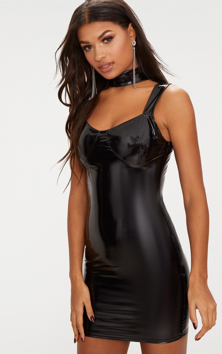 Size jobs black vinyl bodycon dress stores