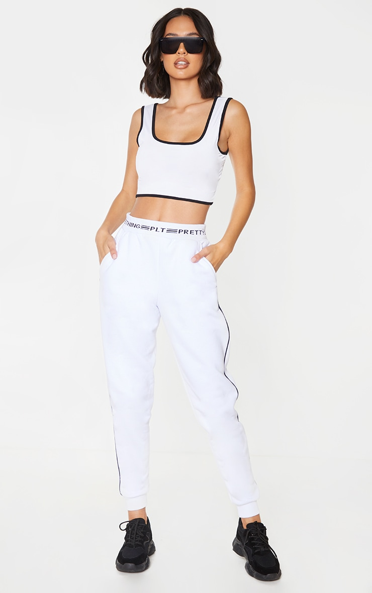 White Contrast Trim Slinky Crop Top 3