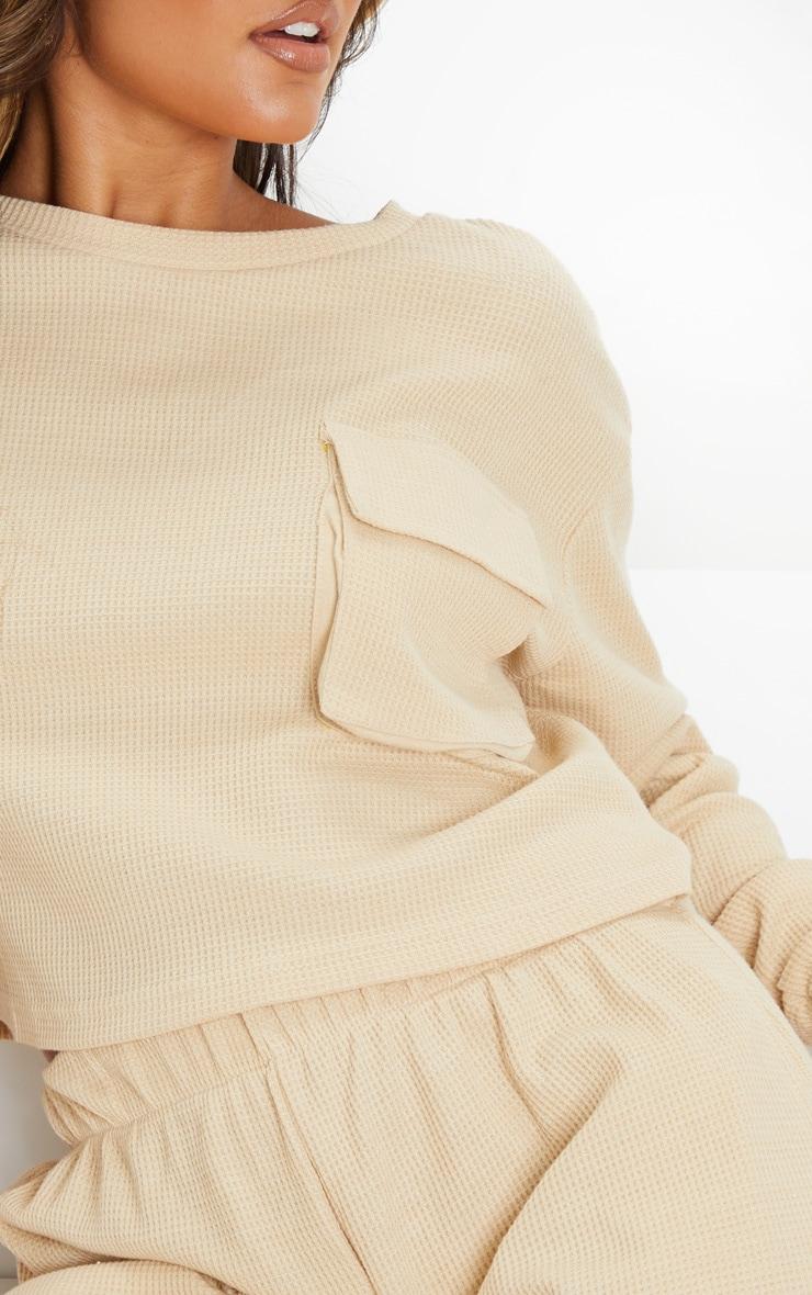 Stone Long Sleeve Pocket Detail Waffle Knit Crop Top 4