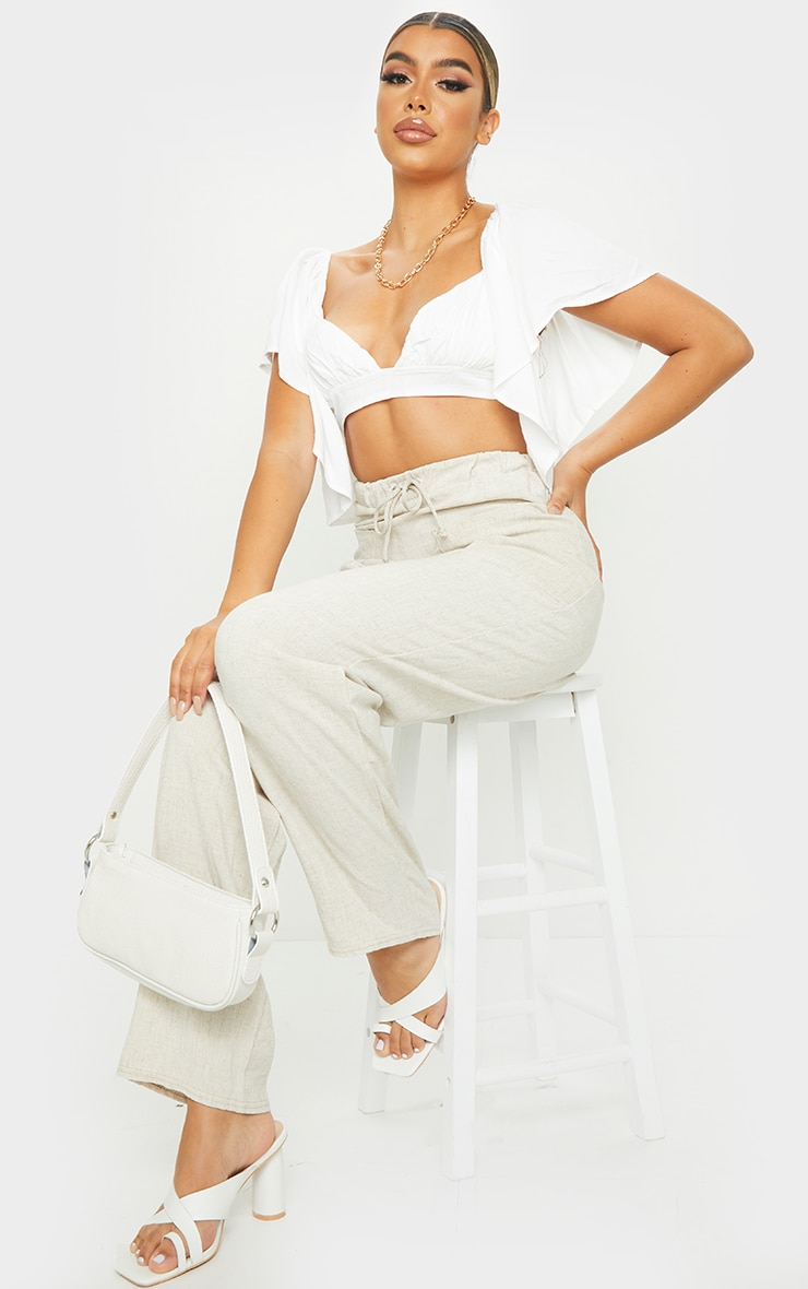 White Woven Short Sleeve Crop Top 3