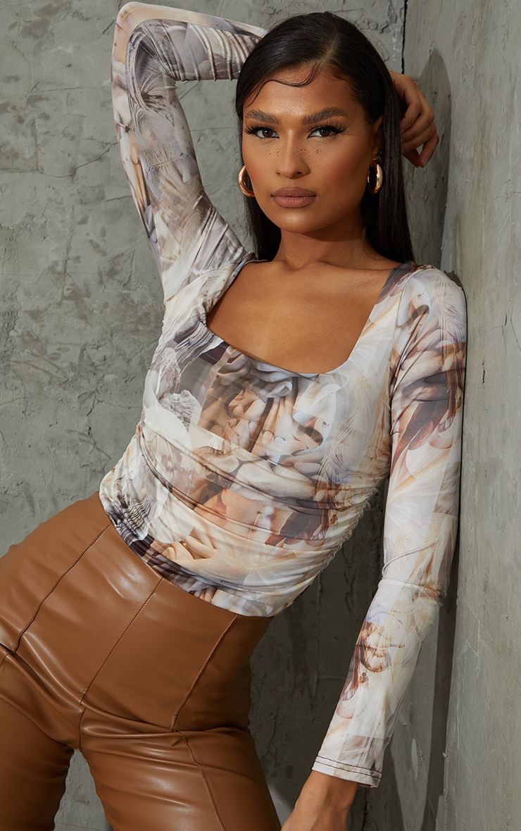 Nude Renaissance Printed Slinky Ruched Long Sleeve Square Neck Bodysuit 1