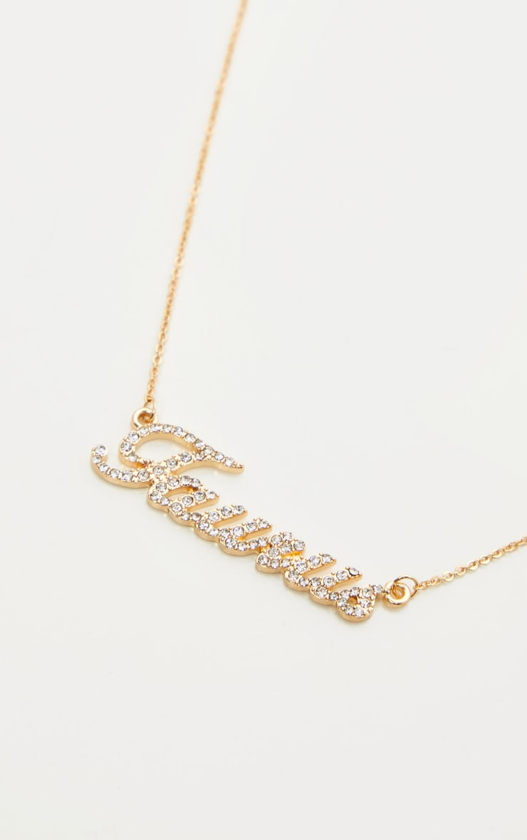 Gold Diamante Taurus Star Sign Necklace 3