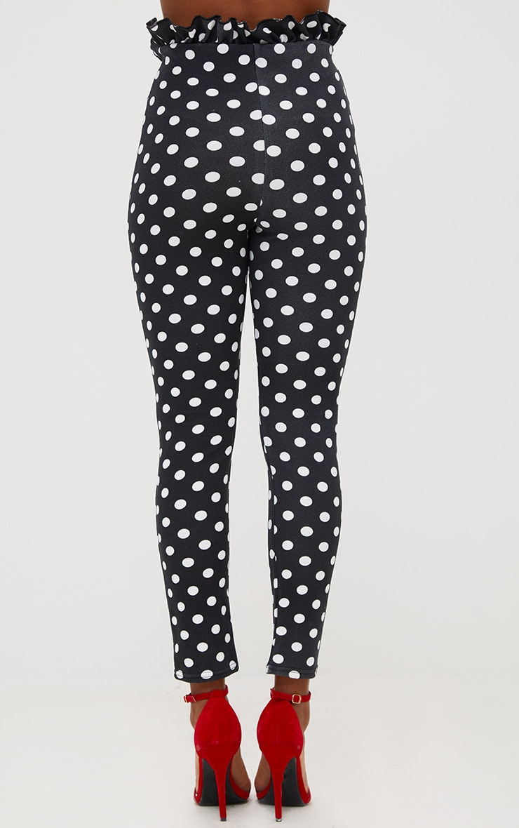 Black Polka Dot Paperbag Waist Skinny Trousers 4