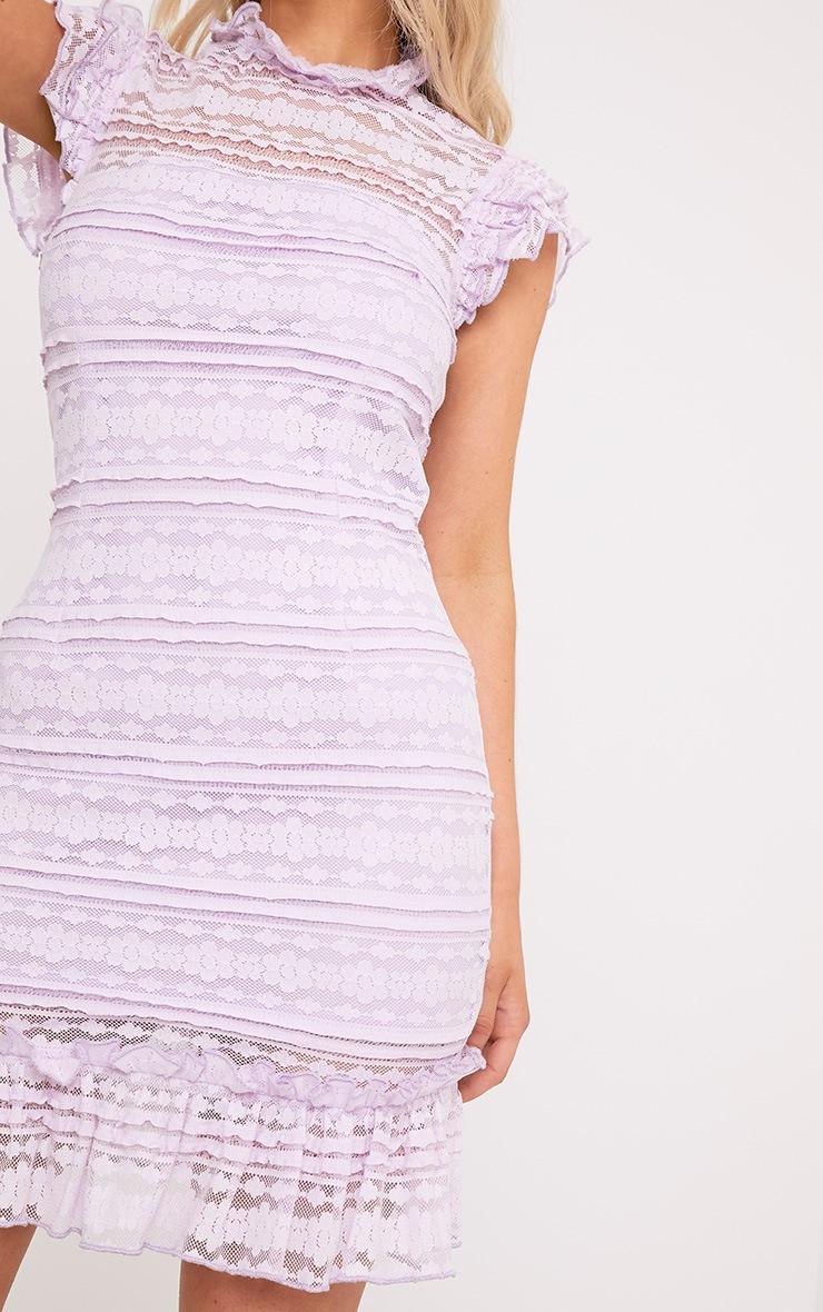 Clariya Lilac Frill Neck Ruffle Layer Lace Bodycon Dress 4