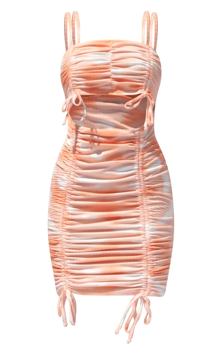 Orange Tie Dye Ribbed Double Ruched Cut Out Bodycon Dress 5