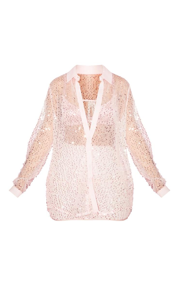 Chemise oversize en mesh rose clair à sequins 3