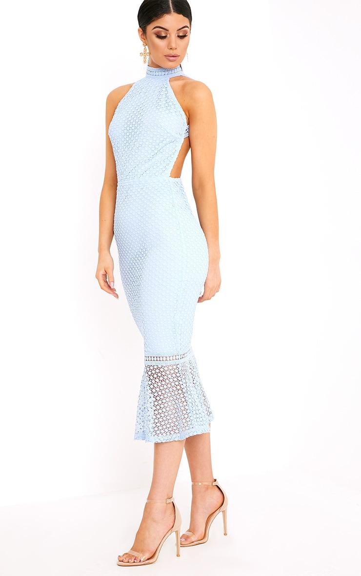 Kymmie Dusty Blue Lace High Neck Midi Dress  1