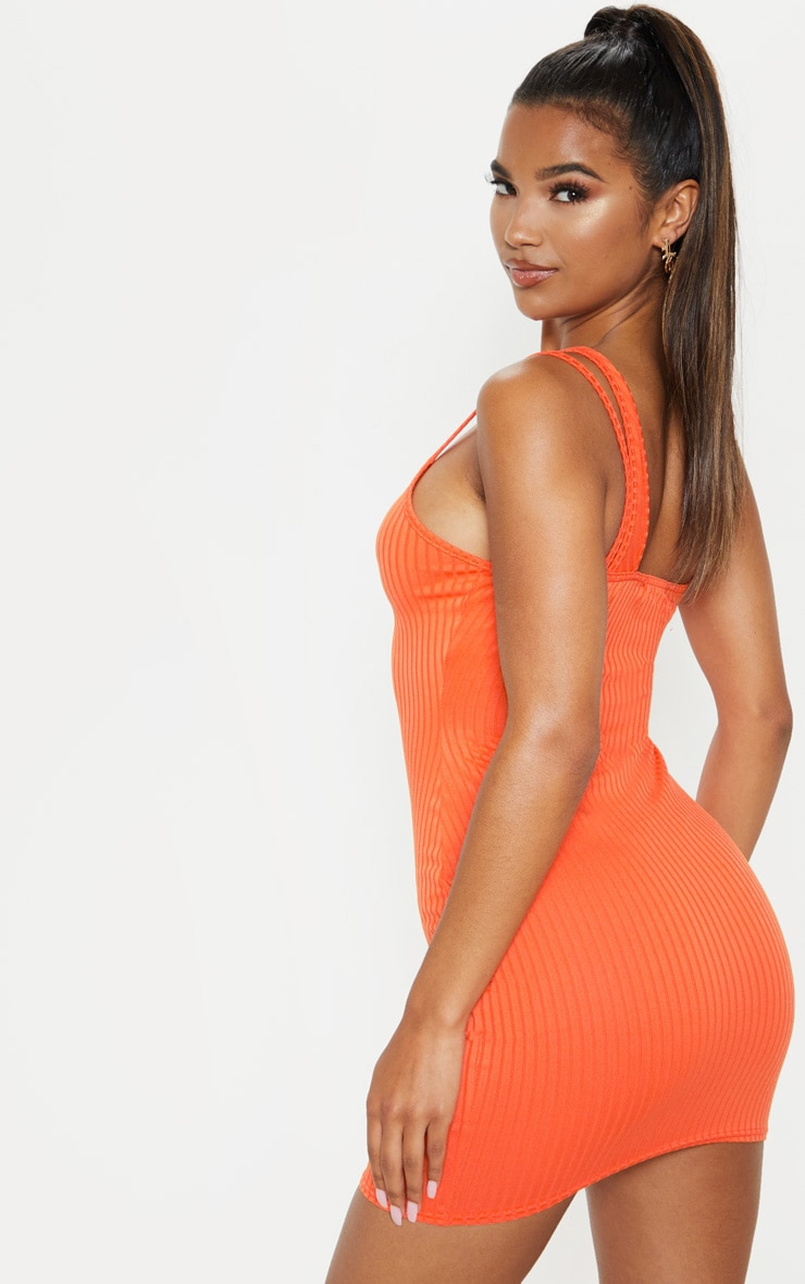 Bright Orange Asymmetric Strap Detail Dress 2