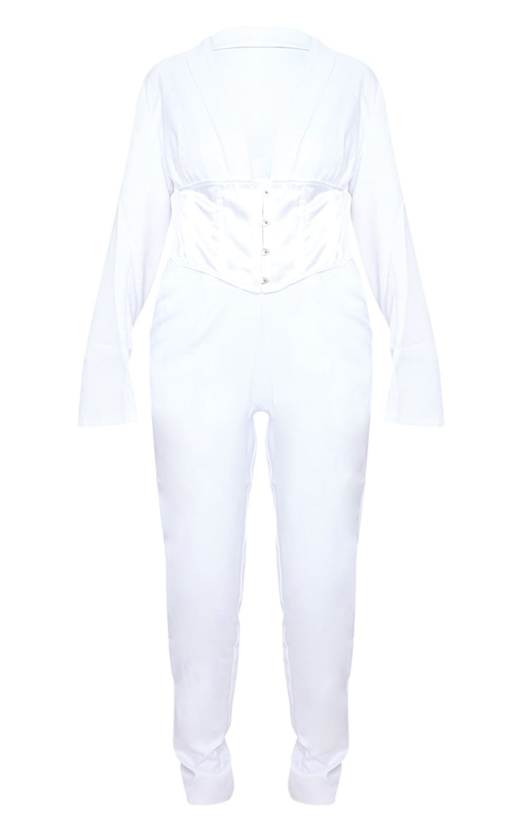 White Corset Waist Tailored Jumpsuit 5