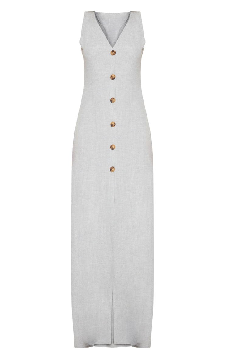 Pale Grey Tortoise Shell Button Up Maxi Dress 3