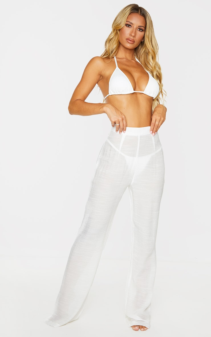 White Wide Leg Linen Look Beach Pants 1
