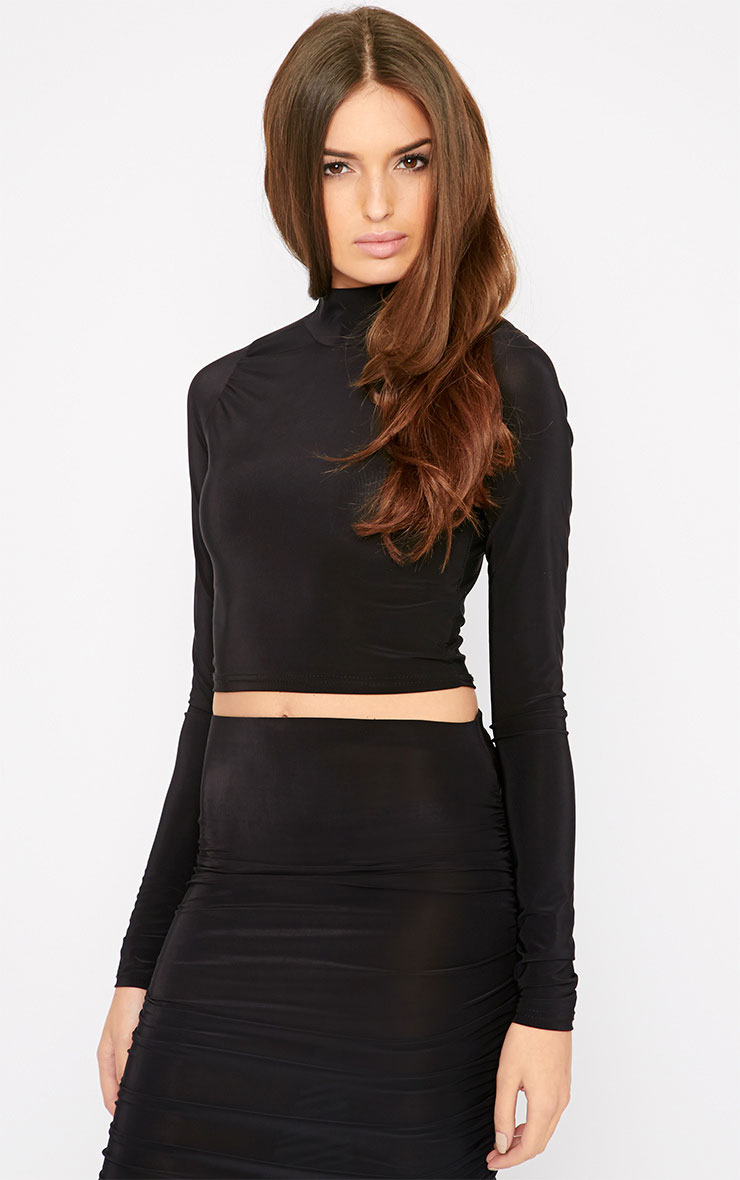 Saylor Black Turtle Neck Crop Top  4