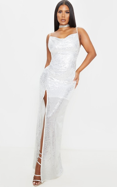 Silver Sequin Tie Strap Cowl Neck Maxi Dress