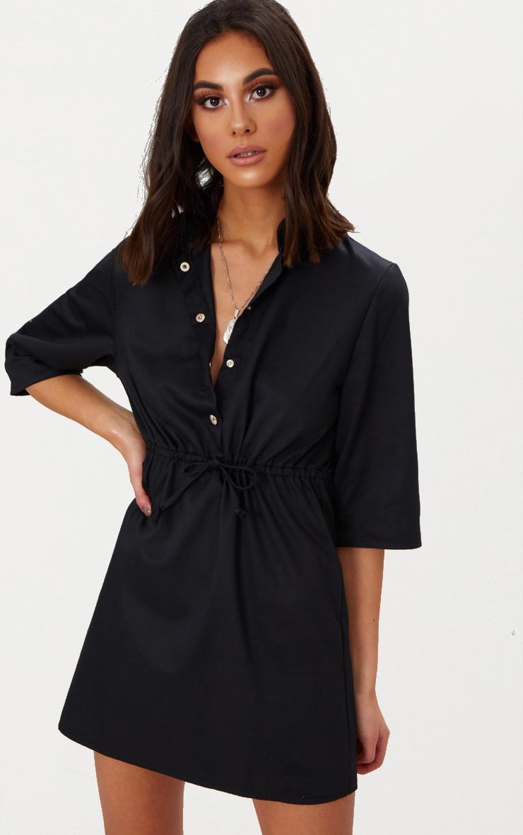 Black Utility Shirt Dress  1