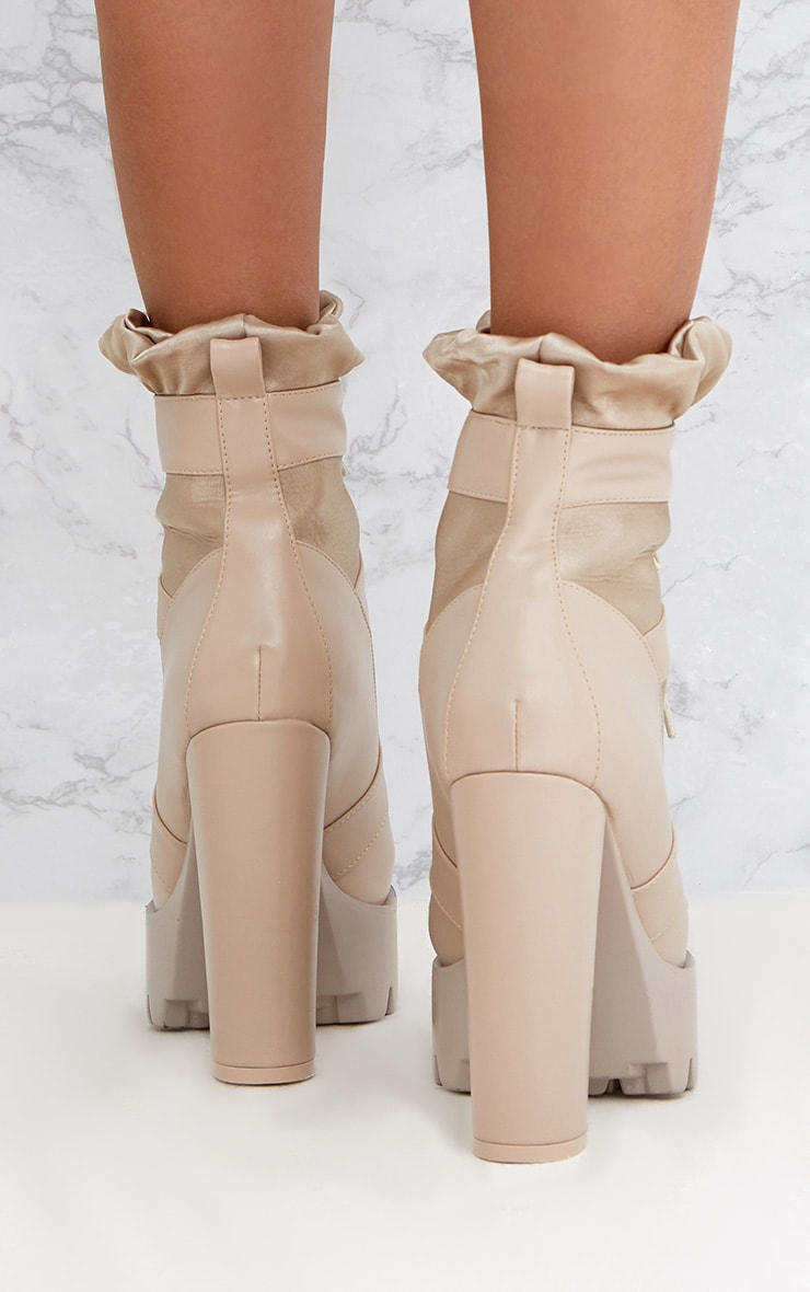 Beige Ruched Lace Up Platform Ankle Boots 2