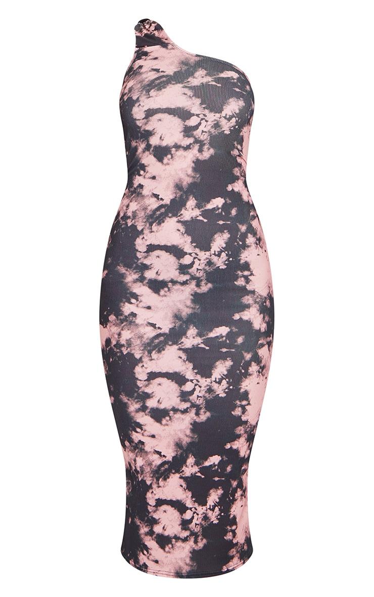 Pink Tie Dye Knot Detail One Shoulder Rib Midi Dress 5