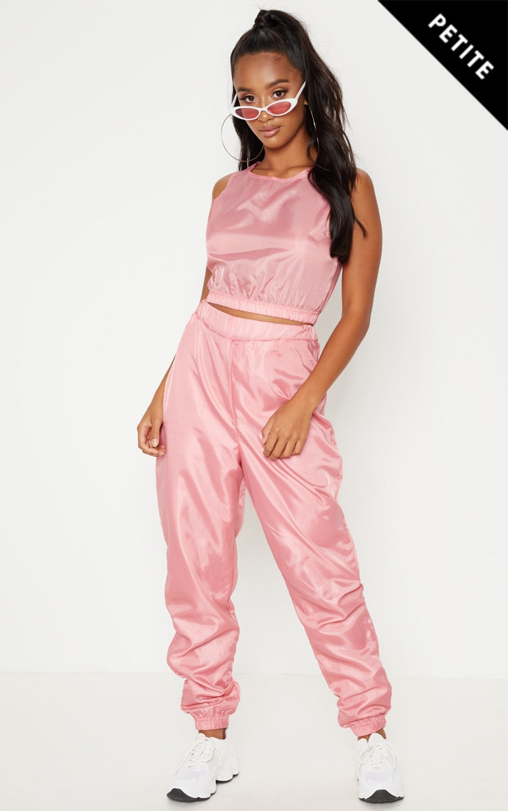 Petite Baby Pink Shell Joggers