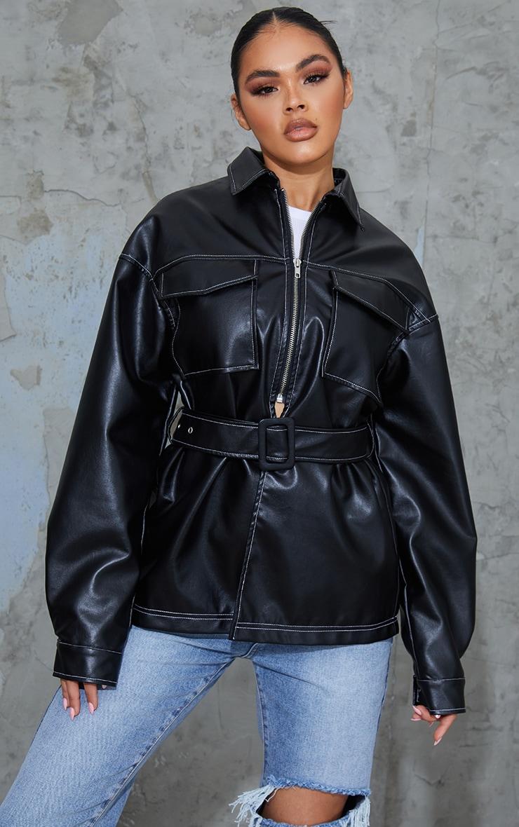 Black PU Contrast Stitch Belted Shacket 1